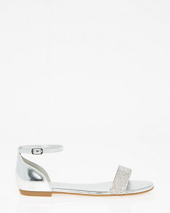Jewel Embellished Leather-Like Sandal