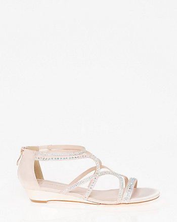 Embellished Satin Strappy Wedge Sandal