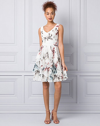 Abstract Print Chiffon V-Neck Dress