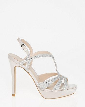 Jewel Embellished Satin T-Strap Sandal