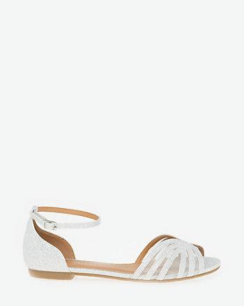 Sandale à talon plat en maille filet