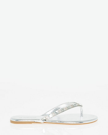 Embellished Leather-Like Thong Sandal