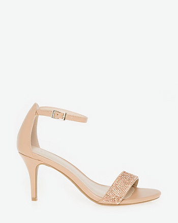 Jewel Embellished Faux Leather Sandal