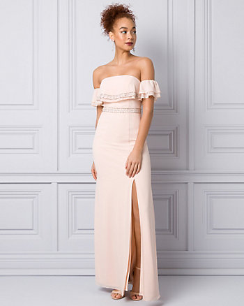 Chiffon Off-the-Shoulder Ruffle Gown
