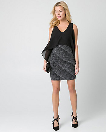 Sparkle Knit & Chiffon Cape Dress