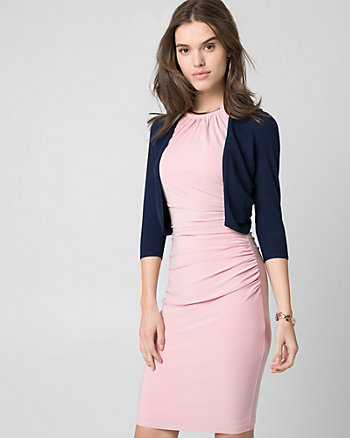Viscose Blend Open-Front Pleated Shrug