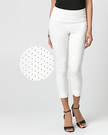 Dot Print Tech Stretch Skinny Leg Crop Pant