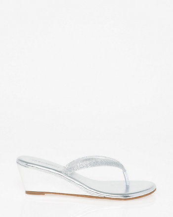 Embellished Faux Leather Wedge Sandal