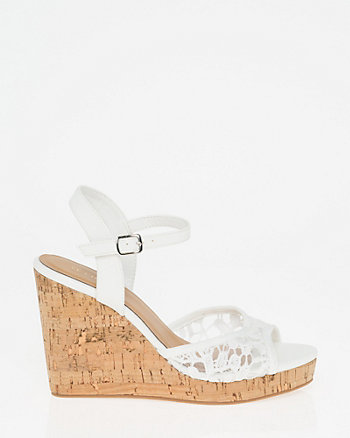 Lace Open Toe Wedge Sandal
