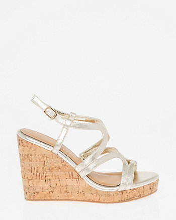Leather-Like Strappy Wedge Sandal