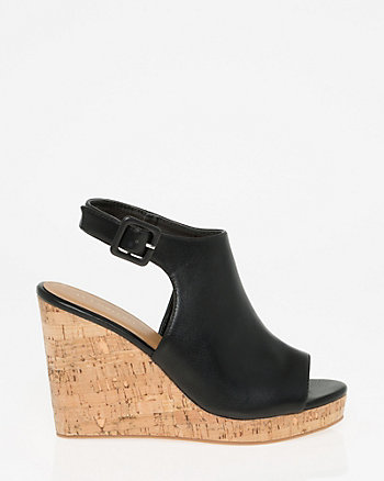 Leather-Like Slingback Wedge Sandal