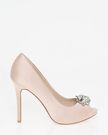 Embellished Satin Peep Toe Pump