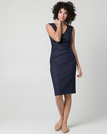 Viscose Blend V-Neck Pleated Shift Dress