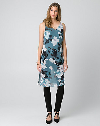 Floral Print Chiffon V-Neck Slit Tunic