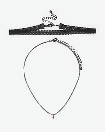 Gem & Lace Choker Necklace