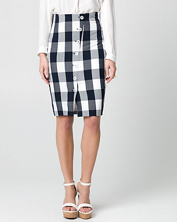 Gingham Viscose Blend Pencil Skirt