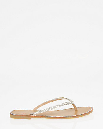Jewel Embellished Metallic Flip Flop