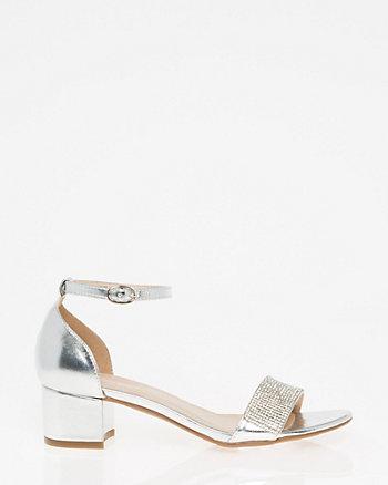 Embellished Metallic Ankle Strap Sandal