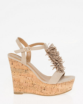 Fringe Open Toe Wedge Sandal