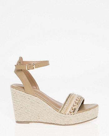 Beaded Open Toe Espadrille Wedge