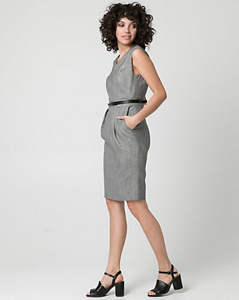 Crosshatch Viscose Blend Shift Dress