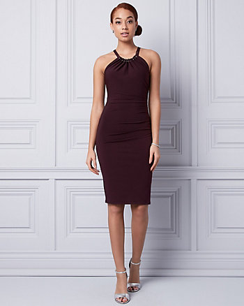 Knit Halter Ruched Dress