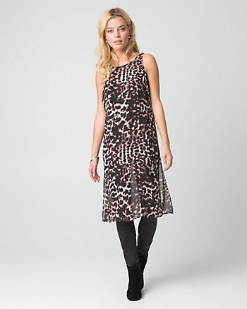 Animal Print Chiffon Boat Neck Slit Tunic