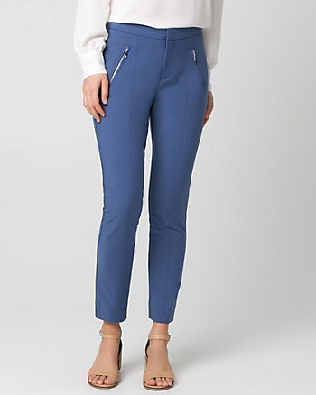 Cotton Blend Slim Leg Crop Pant