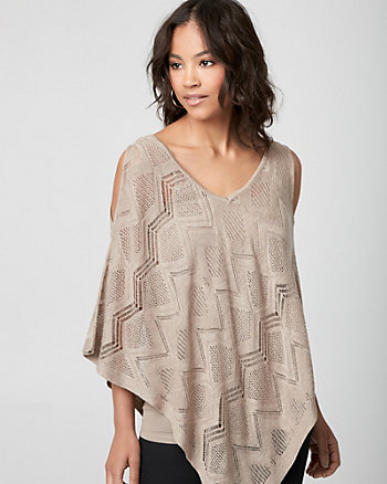 Linen Blend Crochet Poncho Sweater