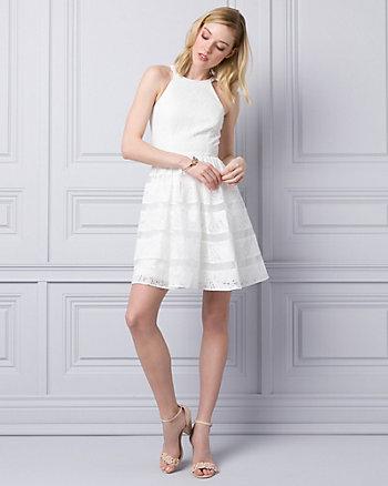Lace & Organza Halter Dress