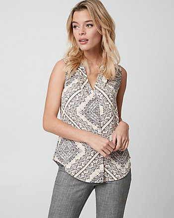 Ornamental Print Shiny Twill V-Neck Blouse