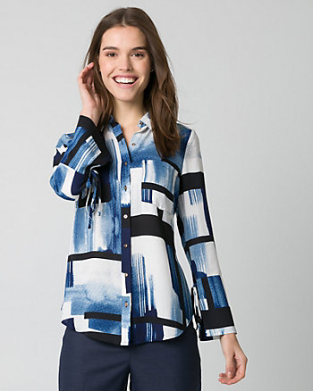 Abstract Print Crêpe de Chine Blouse