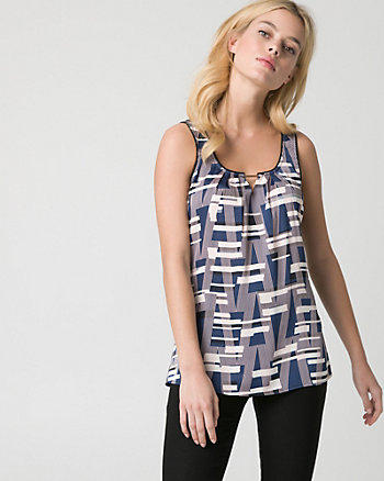 Abstract Print Satin & Knit Tank Top
