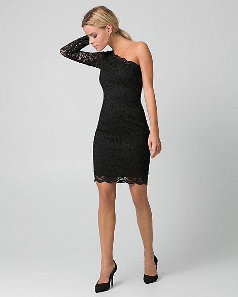 Black evening dress one shoulder