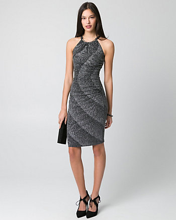 Sparkle Knit Halter Cocktail Dress