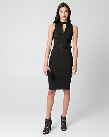 Ponte Mock Neck Belted Shift Dress