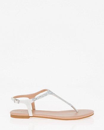 Jewel Embellished Satin Thong Sandal