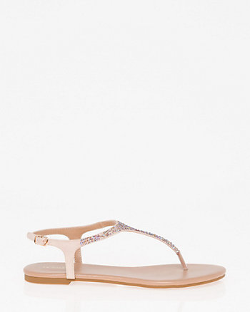 Jewel Embellished Satin Thong Sandal