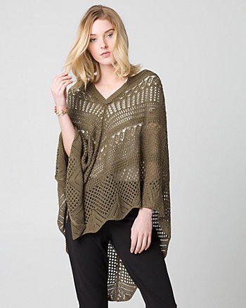 Open-Stitch Knit Poncho