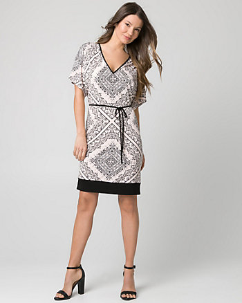 Ornamental Print Knit V-Neck Tunic Dress