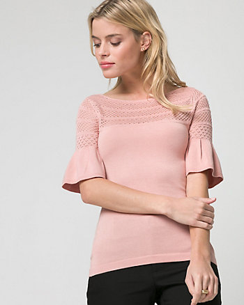 Viscose Blend Pointelle Boat Neck Sweater