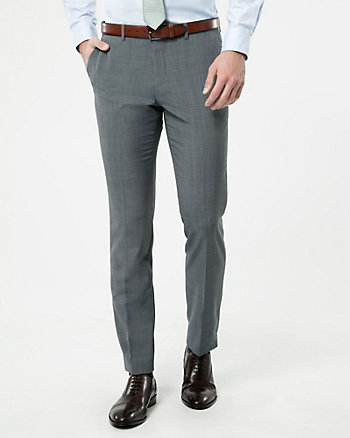 Check Print Wool Blend Slim Leg Pant