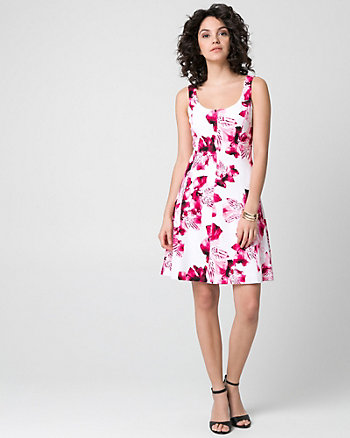 Floral Print Knit Crêpe Scoop Neck Dress