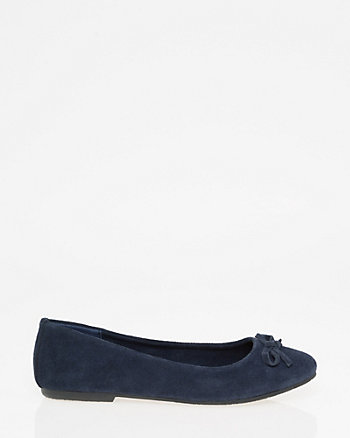 Bow Suede Ballerina Flat