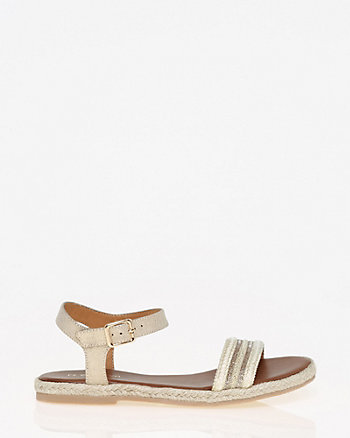 Faux Leather Braided Espadrille Sandal