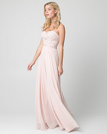 Jewel Embellished Chiffon Strapless Gown