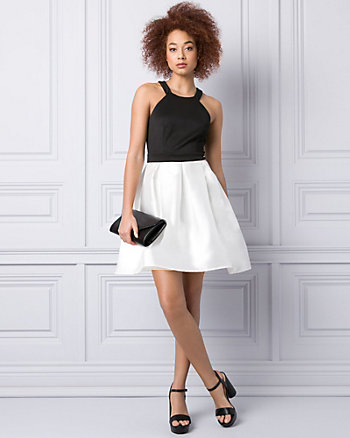 Satin & Knit Halter Party Dress