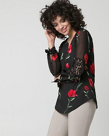 Floral Print Lace & Crêpe de Chine Blouse