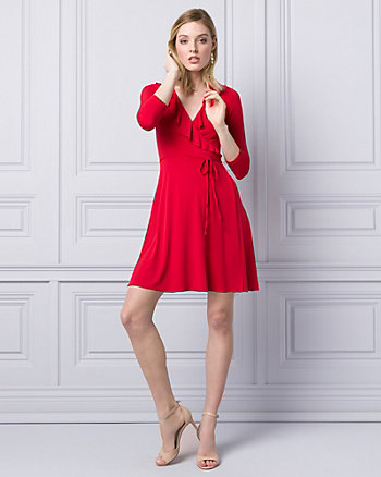 Knit Wrap-Like Mini Dress