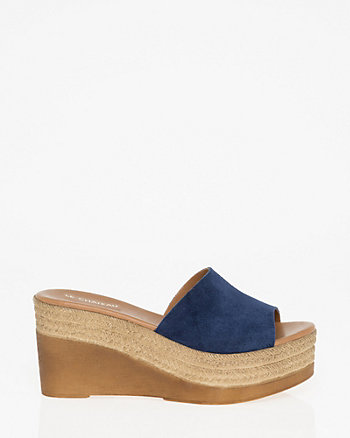 Suede Open Toe Slide Sandal